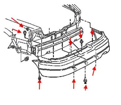 The scheme of fastening the rear bumper of Buick Century (1997-2005)