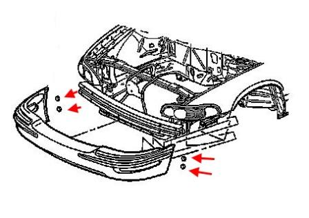 Front bumper mounting diagram for Buick Park Avenue (1997-2005)