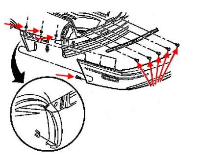 The scheme of fastening the rear bumper of the Buick Park Avenue (1997-2005)