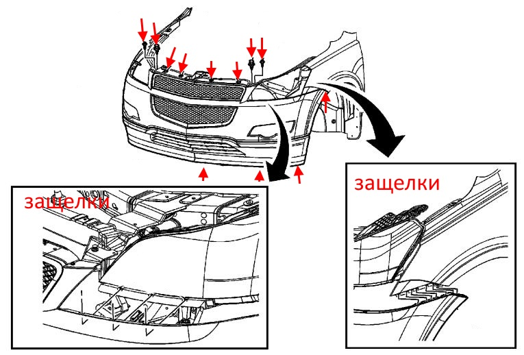 front bumper mounting scheme Buick Enclave