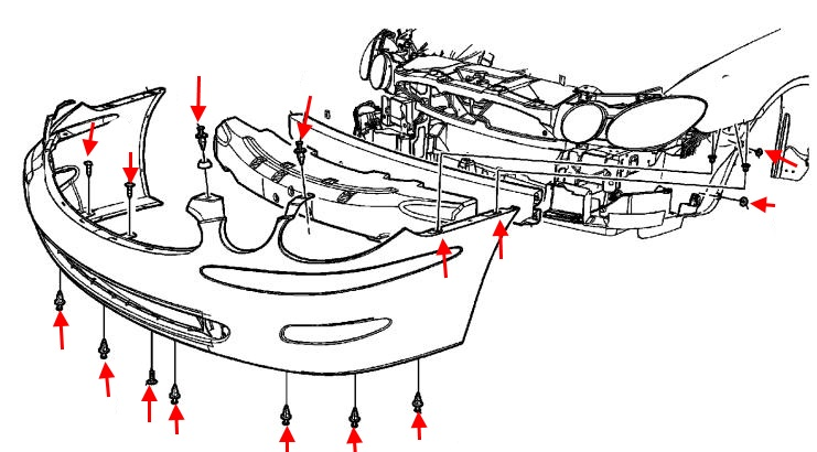 front bumper mounting scheme Buick LaCrosse (2004-2008)