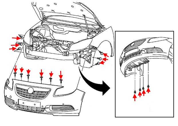 front bumper mounting scheme Buick Regal (2011-2017)
