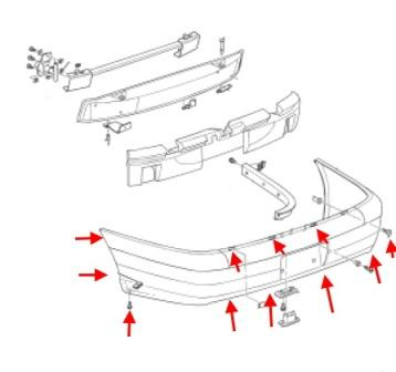 Mounting diagram for the rear bumper of a Cadillac Catera