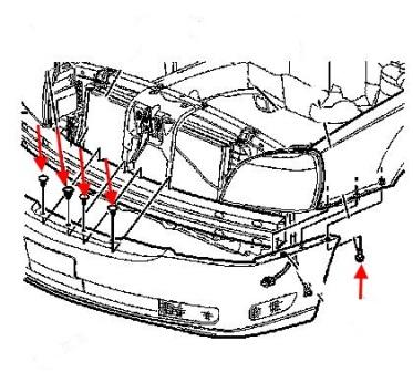 front bumper mounting scheme Cadillac Deville (2000-2005)