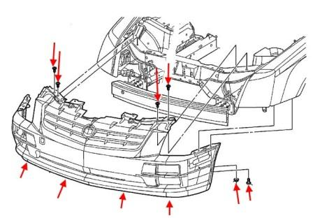 front bumper mounting scheme Cadillac STS