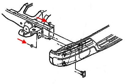 Rear bumper mounting diagram for Chevrolet Express (1996-2002)