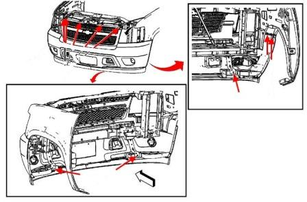 front bumper mounting scheme Chevrolet Avalanche/Tahoe/Suburban (2006-2013)