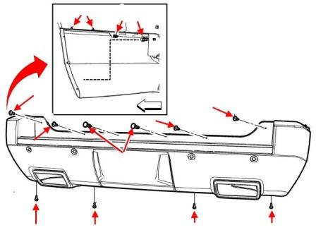 rear bumper mounting scheme Chevrolet Avalanche/Tahoe/Suburban (2006-2013)