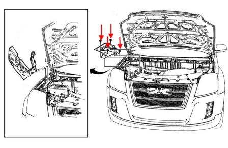 front bumper mounting scheme Chevrolet Equinox (after 2010)