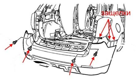 rear bumper mounting scheme Chevrolet Equinox (after 2010)