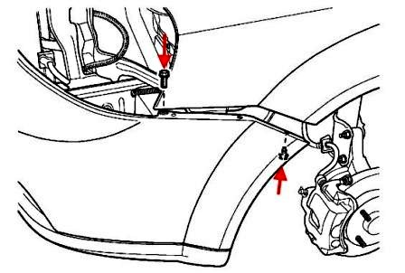 the scheme of fastening of the front bumper J200 Lacetti (Nubira, Optra)(2002-2009)