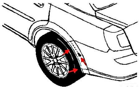the scheme of fastening of the rear bumper J200 Lacetti (Nubira, Optra)(2002-2009)