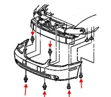 the scheme of fastening of the front bumper of the Chevrolet Malibu (1999-2004)
