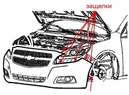 the scheme of fastening of the front bumper of the Chevrolet Malibu (after 2008)