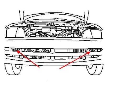 the scheme of fastening of the front bumper of the Chevrolet Metro (1995-2001)