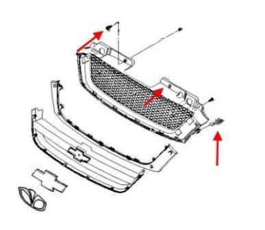 scheme of fastening of the radiator grille of the Chevrolet Rezzo