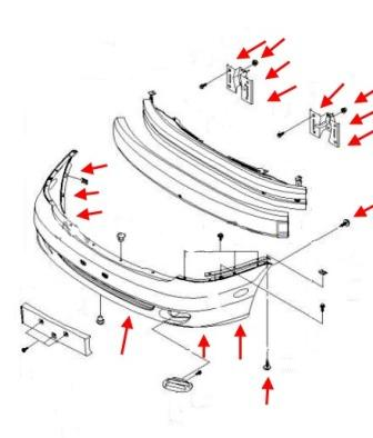 the scheme of fastening of the front bumper of the Chevrolet Rezzo