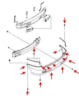 the scheme of fastening the rear bumper of the Chevrolet Rezzo