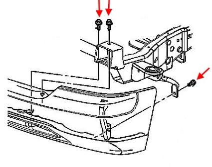 the scheme of fastening of the front bumper of the Chevrolet Silverado (1999-2006)