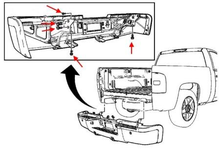 diagram of rear bumper Chevrolet Silverado (2007-2013)