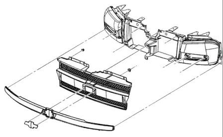 scheme of fastening of the radiator grille of the Chevrolet TrailBlazer (2001-2009)