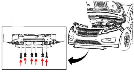 the scheme of fastening of the front bumper of the Chevrolet Volt