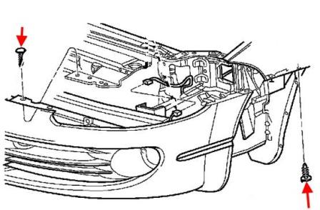 the scheme of fastening of the front bumper Chrysler 300 M