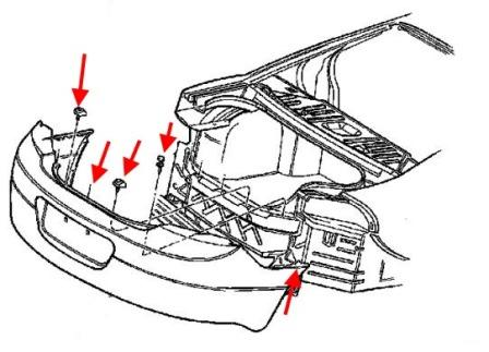 the scheme of fastening the rear bumper of the Chrysler 300 M