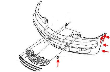 the scheme of fastening of the front bumper Chrysler PT Cruiser