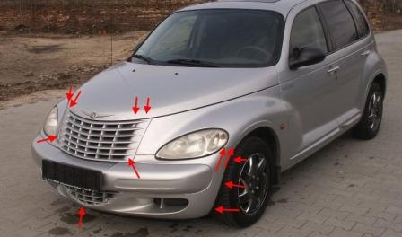 the attachment of the front bumper Chrysler PT Cruiser