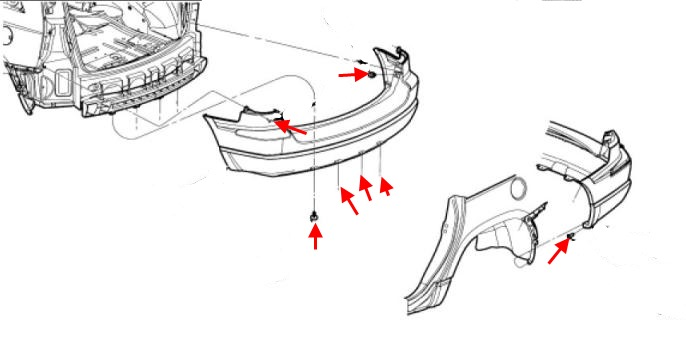 the scheme of fastening of the rear bumper Chrysler Pacifica
