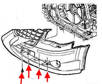 the scheme of fastening of the front bumper Chrysler Town & Country (Voyager) (2008-2016)