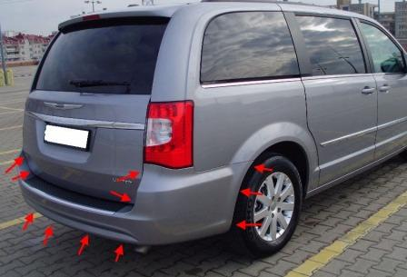 the attachment of the rear bumper Chrysler Town & Country (Voyager) (2008-2016)