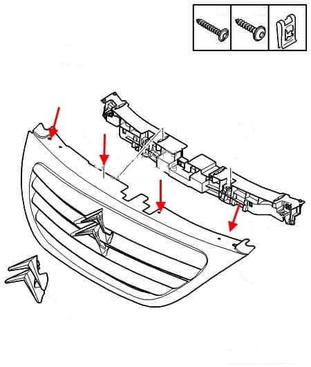 scheme of fastening of the radiator grille Citroen C3 (2002-2009)
