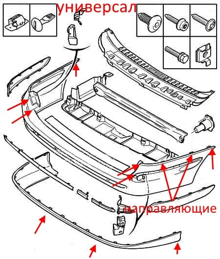diagram of rear bumper Citroen C5 (2001-2008) universal