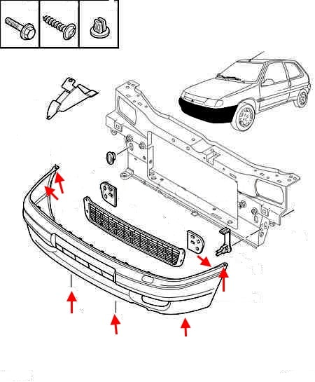 the scheme of fastening of the front bumper Citroen Saxo