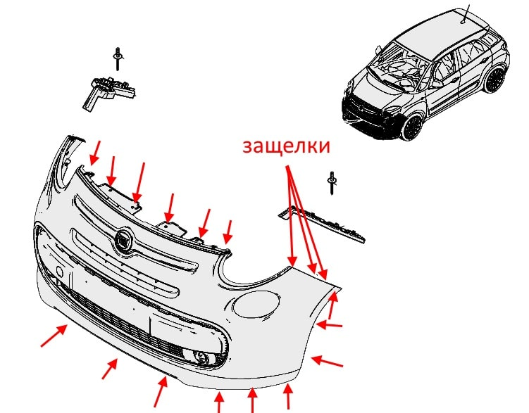 The scheme of fastening of the front bumper of the Fiat 500L (500X)