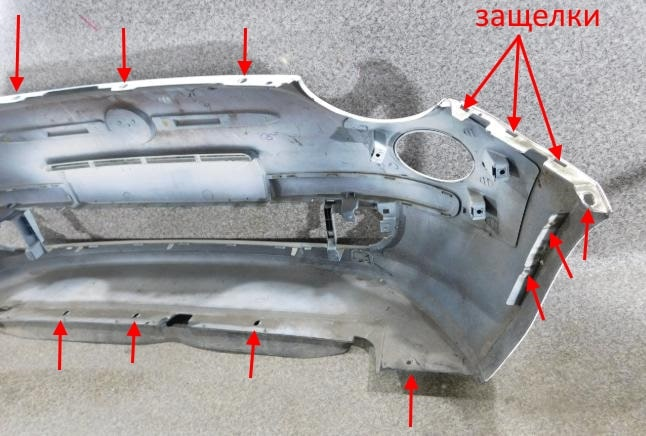 Mounting locations for front bumper Fiat 500