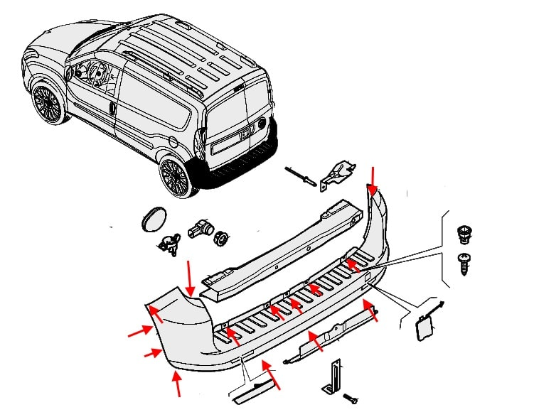 How To Remove Front And Rear Bumper Fiat Doblo 2  After 2010