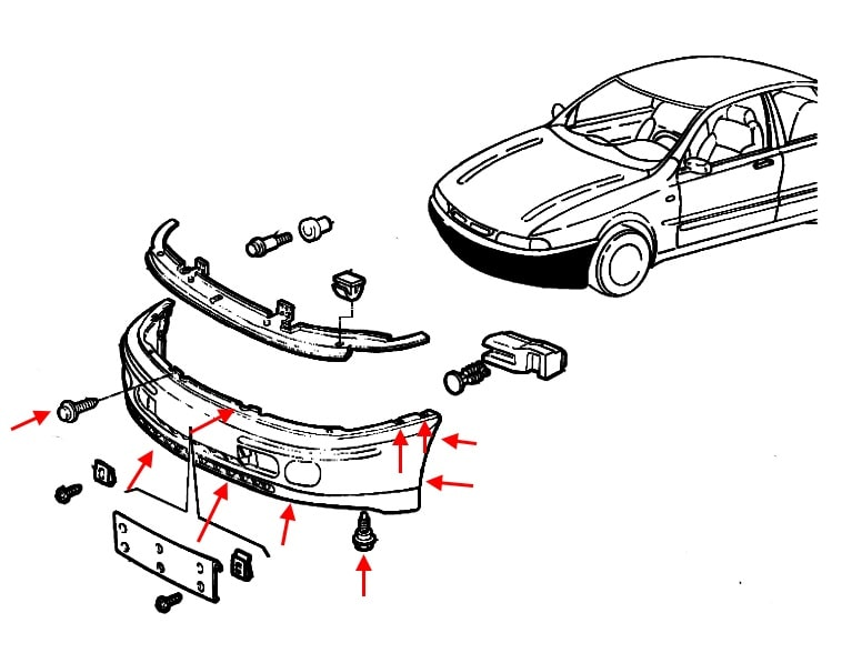 The scheme of fastening of the front bumper Fiat Marea