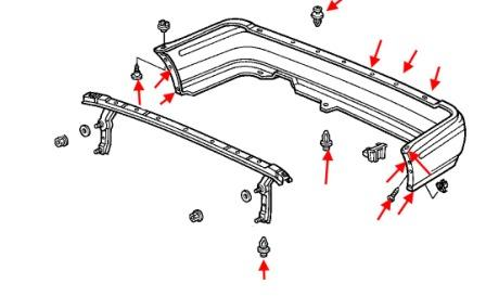 the scheme of fastening of the rear bumper 4 Honda Accord (1990-1993)
