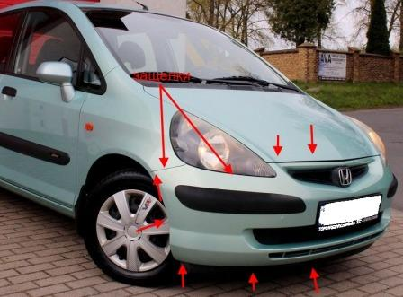 the attachment of the front bumper Honda Fit/Jazz (2001-2007)