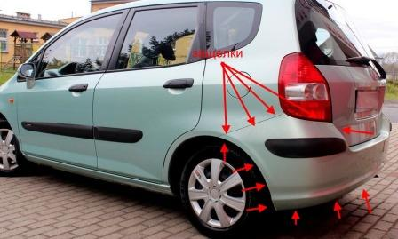 the attachment of the rear bumper Honda Fit/Jazz (2001-2007)