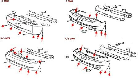 scheme of fastening of front bumper for Hyundai Accent I (1997-2000)