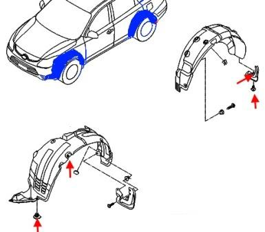 the scheme of fastening of wheel arches Hyundai ix55 (Veracruz)