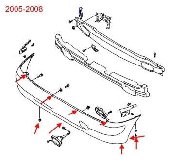the scheme of fastening the rear bumper of the Hyundai Matrix