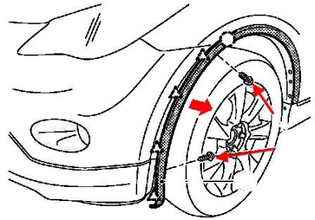 the scheme of fastening of the front bumper Infiniti EX