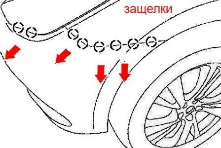 the scheme of fastening of the front bumper Infiniti JX35