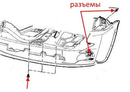 the scheme of fastening of the front bumper of the Jeep Compass (2007-2017)