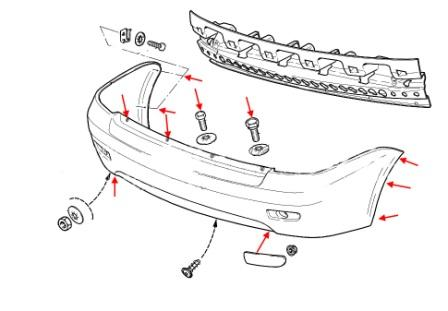 the scheme of fastening the rear bumper of Lada (VAZ) Priora 2170, 2171, 2172